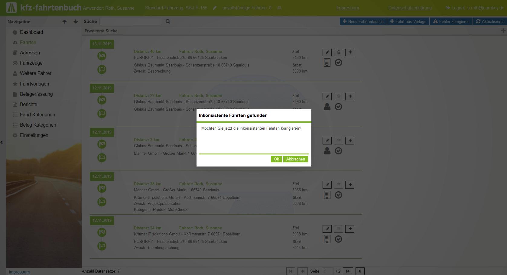 Fahrtüberprüfung Online