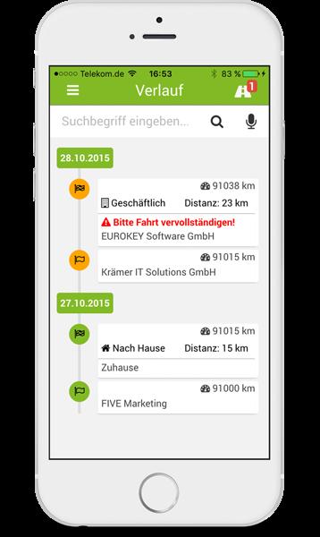 Fahrtenbuch iPhone Verlauf