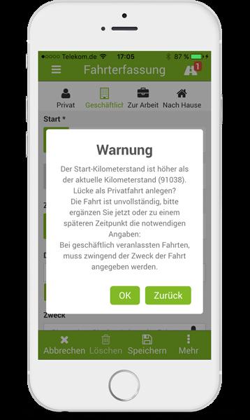 Fahrtenbuch Warnung iPhone