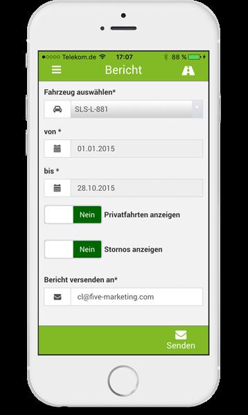 Fahrtenbuch iPhone Bericht